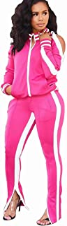 OLUOLIN Womens Two Piece Outfits Tracksuit - Cold Shoulder Jackets Long Sweatpants Bodycon Jogging Suit