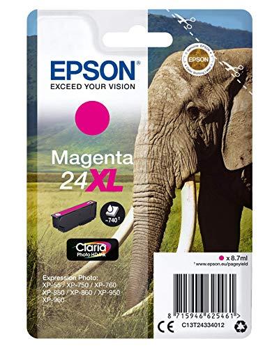 Epson Original 24XL Tinte Elefant (XP-750 XP-850 XP-950 XP-55 XP-760 XP-860 XP-960 XP-970, Amazon Dash Replenishment-fähig) magenta