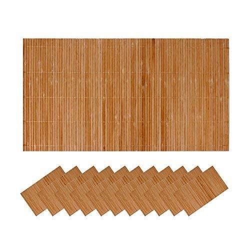 Roomando 12er Tischset Tischunterlage Bamboo Untersetzer Unterlage Platzmatte aus Bambus