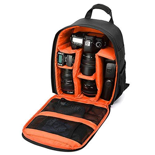 Sac pour Appareil Photo, Mini Sac à Dos pour Appareil Photo avec Protection Contre Les Chocs, imperméable, Velcro réglable, étui pour Reflex, DSLR, Caméra sans Miroir et Autres Accessoires (Orange)