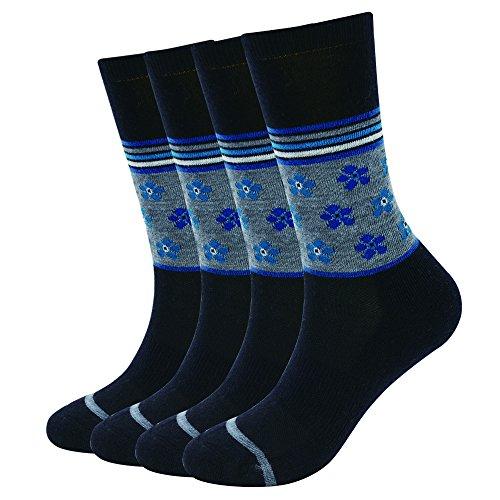 EnerWear 4 Pack Women's Merino Wool Outdoor Hiking Trail Crew Sock (US Shoe Size 4-10½, Black/Blue Flower)
