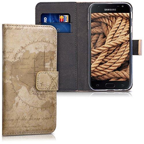 kwmobile Hülle kompatibel mit Samsung Galaxy J3 (2017) DUOS - Kunstleder Wallet Hülle mit Kartenfächern Stand Travel Vintage Braun Hellbraun
