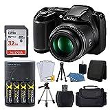 Nikon COOLPIX L340 20.2 MP Digital Camera (Black) + AA Batteries & Charger + 32GB SDHC Memory Card + 50' Quality Tripod + Camera/Video Case - Full Value Bundle - International Version (No Warranty)