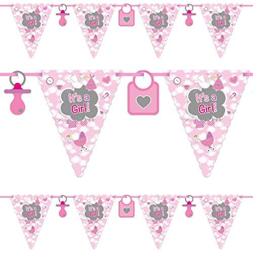 Folat 63653 - Wimpelkette It's a Girl - Geburt Mädchen - rosa - ca. 6 m