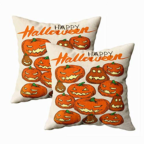 Teepel Throw Pillow Covers,Boho Pillow Covers Set of 2 18X18 Greeting Card Happy Halloween Jack Lantern Pumpkins Square Decorative Pillow Covers for Couch