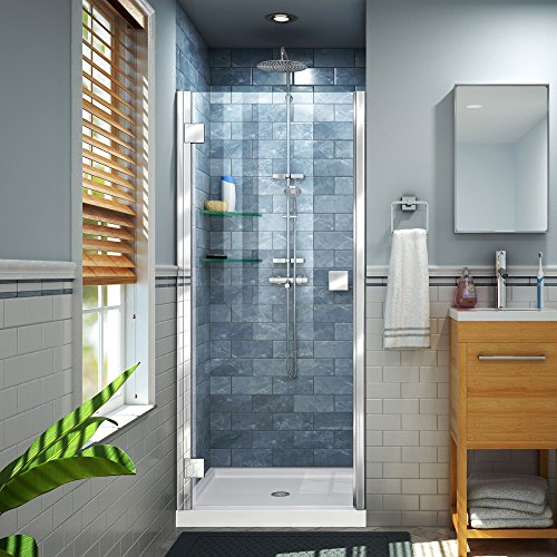 Lumen 36 in. D x 42 in. W by 74 3/4 in. H Hinged Shower Door in Chrome with White Acrylic Base Kit - DreamLine DL-533642-01