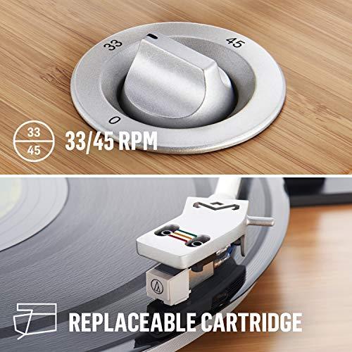 House of Marley Stir It Up Turntable Giradischi, 45/33 Giri, Piatto Lega di Alluminio, Braccio in Metallo Rigido, Cartuccia MM Audio-Technica, Legno/Nero