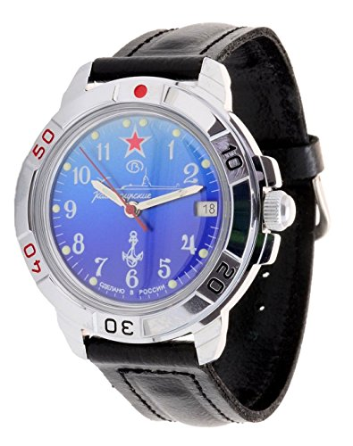 Vostok Komandirskie 2414/431289 - Reloj militar ruso, Submarino U-boot, color azul