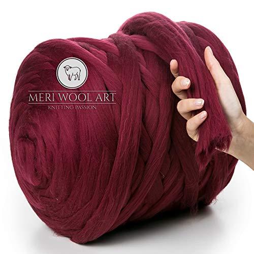 MeriWoolArt 100% Merinowolle zum Stricken & Häkeln mit 4-5 cm dickem Garn | Dicke Merino Wolle für XXL Schal, Decke & Kissen (Burgunderrot, 4,5Kg Knäuel)