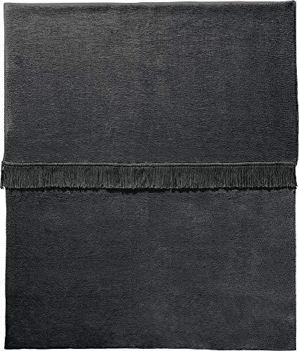 Erwin Müller Plaid, Wolldecke, Wohndecke anthrazit Größe 150x200 cm - anschmiegsam, temparaturausgleichend, mit Fransen - (weitere Farben, Größen)