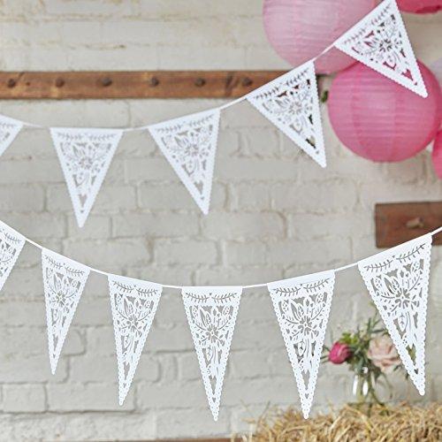 Ginger Ray Papier-Wimpelkette, gestanzt, Blumenmuster, Dekoration für Hochzeit oder Party, Boho