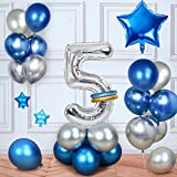 MMTX Cumpleaños Globos 5 Años Azul, Decoracion Cumpleaños Globos de Látex para Cumpleaños para Niños (5 Años)