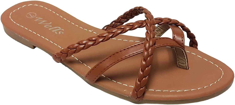Elegant Womens Fashion Criss Cross Braided Strappy Flip Flop Flat Sandals