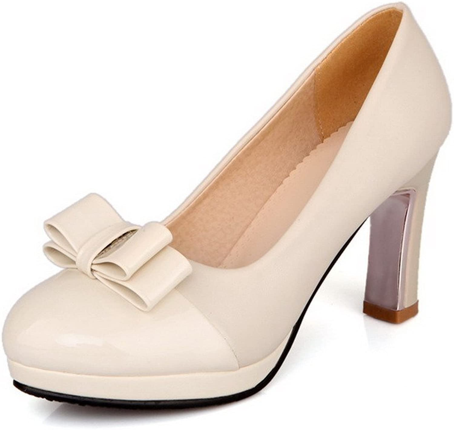 AllhqFashion Women's Patent Leather Solid Pull On Round Closed Toe High Heels Pumps-shoes