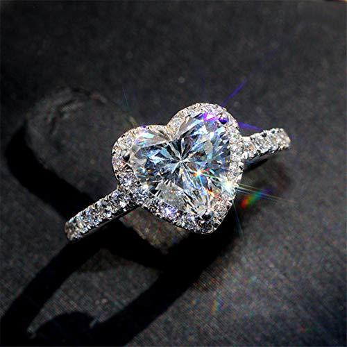 LuckyOne Anillos de corazón para mujer S925 de plata de compromiso, joyería nupcial, circonita cúbica, elegante anillo accesorios CC829,5, rojo