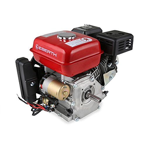 EBERTH 6,5 PS 4,8 kW Benzinmotor Standmotor Kartmotor Antriebsmotor Austauschmotor (E-Start, 3/4 Zoll 19,05 mm Ø Welle, Ölmangelsicherung, 1 Zylinder Benzinmotor, 4-Takt, luftgekühlt, Seilzugstart, Lichtmaschine, Batterie) rot