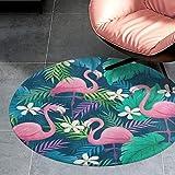 K-SLWX Teppich Rund,Abwaschbar Bereich Teppich,Dekorativer Teppich mit Flamingo-Palme,Anti-Rutsch,Perfect für Wohnzimmer,Flur,Schlafzimmer,Kinderzimmer,Babyzimmer