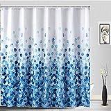 Sylbapestry Blau Steigung Duschvorhang Blütenblatt Bad Duschvorhänge waschbar Dusche Duschvorhang mit 12 Haken (blau)