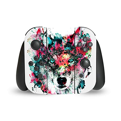 Head Case Designs Officially Licensed Riza Peker Wolf Art Mix Glossy Vinyl Sticker Skin Decal Cover Compatible with Nintendo Switch Joy Controller