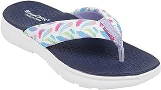 KazarMax Women White & Blue Printed Thong Flip-Flops