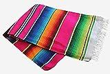 Del Mex (TM) X-Large Mexican Serape Blanket Tablecloth Sarape (Pink)