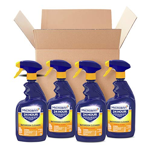 Microban Disinfectant Spray, 24 Hour Sanitizing and Antibacterial Spray, Bathroom Cleaner, Citrus Scent, 4 Count, 22 fl oz Each