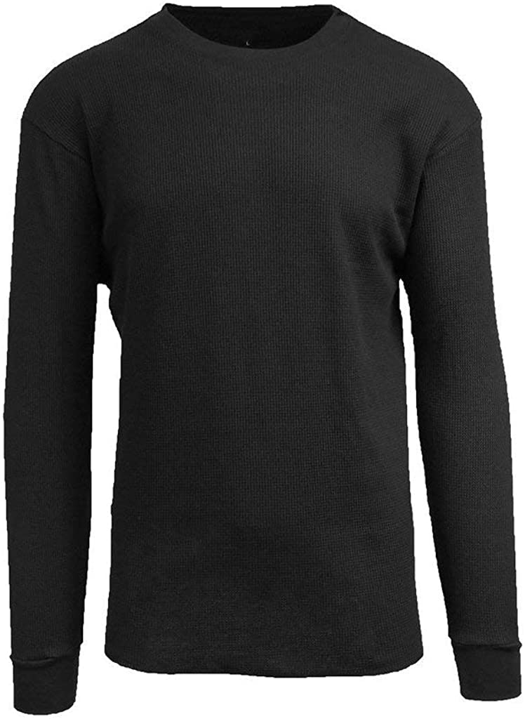 Men's Basic Plain Cotton Long Sleeve Thermal Top Shirts-Black, Blue, Grey, Olive, Red, White and Size S to 6XL (Black, S)