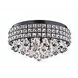 Edvivi 4-Light Antique Black Drum Shade Crystal Flush Mount Ceiling Chandelier   Glam Lighting