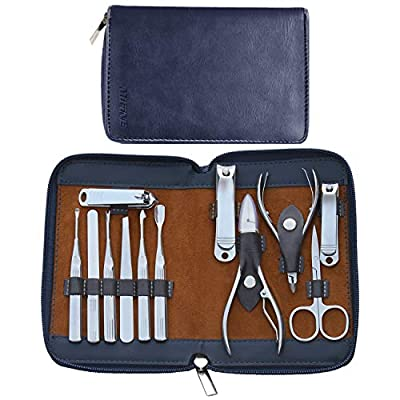 Manicure Set Pedicure Kit - Mifine 12 In 1 Stainless Steel Nail Clipper Tools Professional Grooming kit Manicure Pedicure Set with Leather Travel Case(Brown)