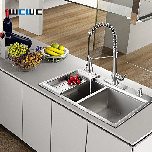 Kitchen Faucet With Sprayer Wewe A1003l Single Handle Brushed Nickel Pull Out Kitchen Faucet Stainless Steel