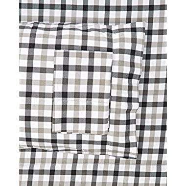 Tribeca Living BGPL200EDSSQU 200-GSM Micro Plaid Printed Flannel Sheet Set, Queen, Multicolor