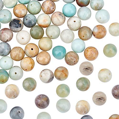 OLYCRAFT 76pz di Perle di Amazzonite Naturale, Perline Energetiche da 10 mm, Perle di Pietre Preziose Rotonde Sciolte per La Creazione di Gioielli con Collana di Bracciali