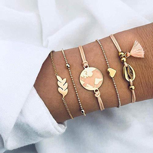 BIJOUX Pulsera de piedra, colgante de corazón de color dorado5 piezas Juego de mapa de océano bohemio Pulseras de encanto de tortuga de corazón para mujeres Conjuntos de joyas Regalos personalizados