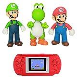 Handheld Game Machine + 5-inch 3 Pieces / Set of 5-inch Super Mario Bros .Mario, Luigi, Yoshi PVC Action Doll Toys and Children's Game Machine