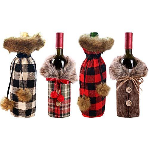 Weihnachten Weinflasche Abdeckung,4 Stücke Weihnachten Flaschen Deko Flaschen Anzug Weihnachten Flaschen Deko Flaschen Anzug Weihnachten Weinflaschen Taschen für Weihnachtsfeier Dekoration