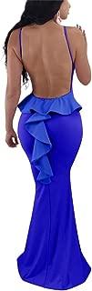 Women Sexy Spaghetti Strap Backless Ruffle Bodycon Evening Mermaid Maxi Dress