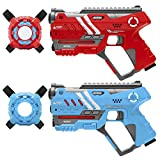 Best Choice Products Set of 2 Laser Tag Blasters w/ Vests and Backwards Compatible, Red/Blue