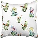 Funda de almohada personalizable de 45 x 45 cm, diseño de flores verdes, acuarela, cactus, desierto, botánico, dibujos animados, cuadrada, para niños, hombres, mujeres, adultos, personalizable, regalo para papá o niño