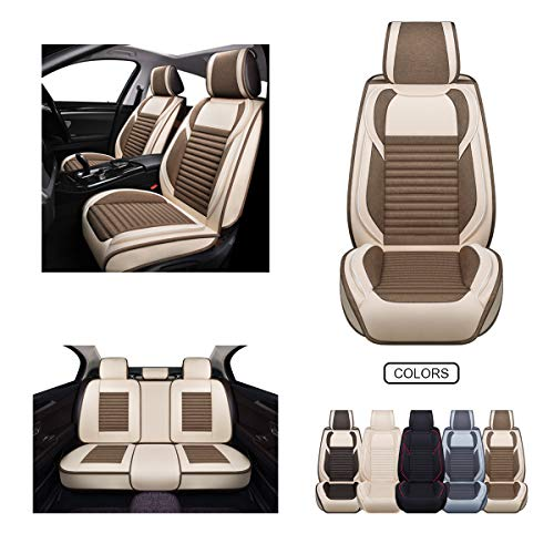 Fabric Wool Like Cloth Car Seat Covers, Linen Automotive Vehicle Cushion Cover for Cars SUV Pick-up Truck Universal Fit Set for Auto Interior Accessories (OS-013 Full Set, TAN&Coffee)