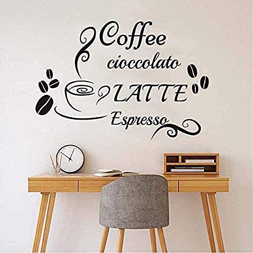 Pegatinas de vinilo para pared decoración de pared pegatinas de bricolaje café con leche taza de café frijoles decoración del hogar cocina café restaurante 59X40 cm
