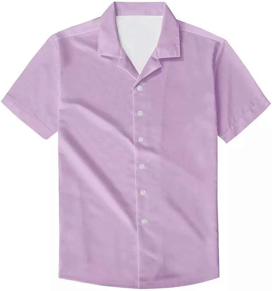 Mens Hawaiian Aloha Shirt Short Sleeve Casual Button Down Solid Beach Shirts