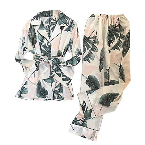 KIMODO Pijamas con Estampado de Seda de simulación de Mujer Pantalones de Manga Larga Conjunto de Ropa de Dormir Traje de Noche Encaje Satén Atractivo