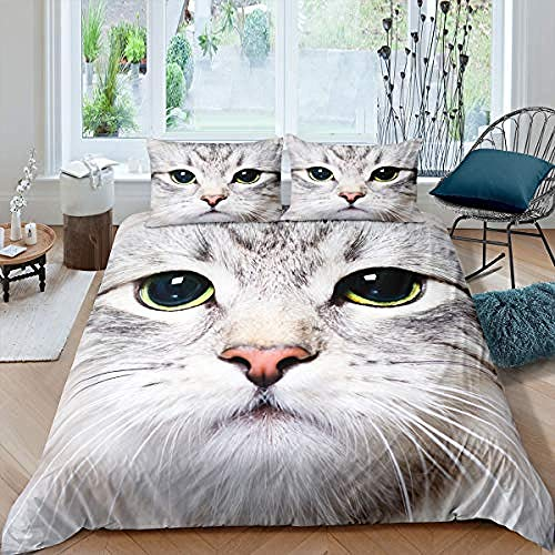 3D Printed Bedding Set for Children Cat Bedding Set Nightmare Before Christmas Duvet Cover with Duvet Cover Sets Funky 155x220cm