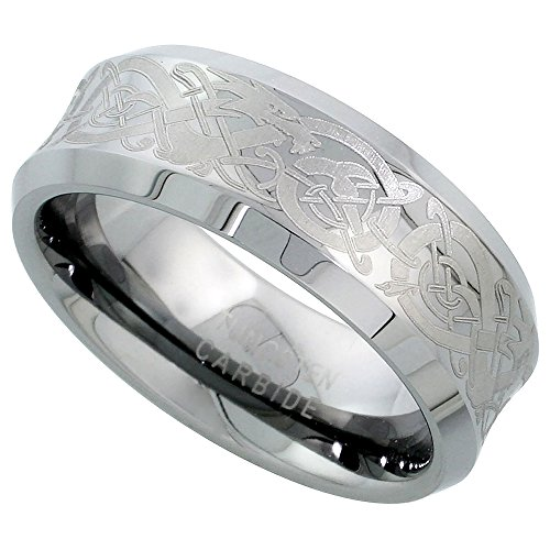 Sabrina Silver Tungsten Carbide 8 mm Concaved Wedding Band Ring Etched Celtic Dragon Pattern Beveled Edges, Size 11.5