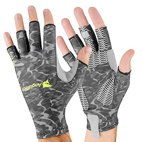 Anglatech Fishing UV Protection Gloves - Fingerless Sun Gloves for Men and Women - UPF50+ Fly Fishing Gloves for Sailing, Cycling, Boating, Kayaking, Padding, Surfing, Hiking