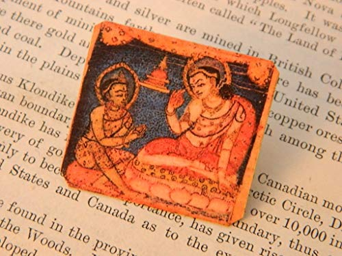 Lapel Pin Buddha of Compassion Art Brooch Mixed Media Jewelry Gift