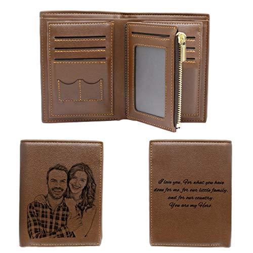 Cartera Billetera Personalizado de Foto Hombre Plegable Cuero Regalo Personalizado para Papá Novio Familia