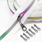 Goyunwell Nylon Zippers by The Yard #5 10 Yards White Zipper Tape with 20Pcs Silver Pulls Nickel Silder Colorful Teeth Zipper for Sewing Bulk Roll Rainbow Teeth Zippers for Craft Bag DIY Trilor