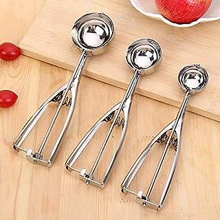 Stainless Steel Ice Cream Mash Potato Scoop Spoon Spring Handle Kitchen Accessories Wholesale 3 Size