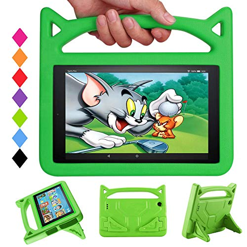 FireHD 10 Tablet Case for Kids - Mr. Spades Light Weight Shock Proof with Stand Kid Proof Cover(9th/7th Generation - 2019/2017 Release) - Green